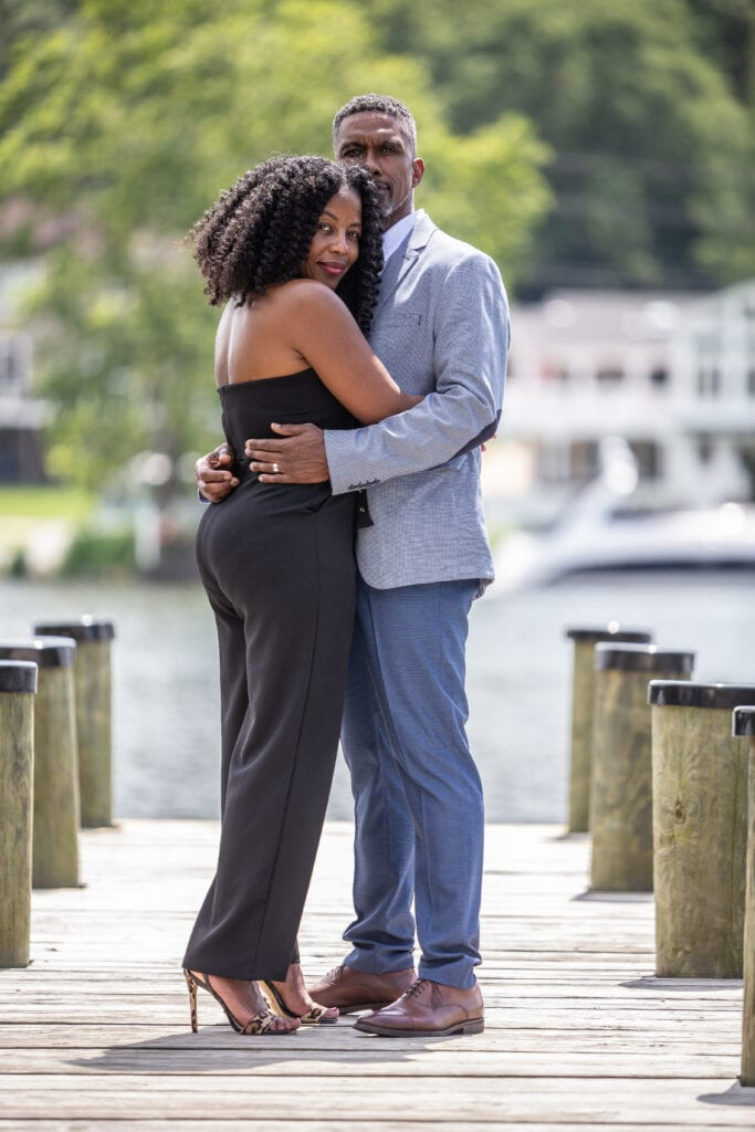 beautiful black couple on dock man and woman dating over 40