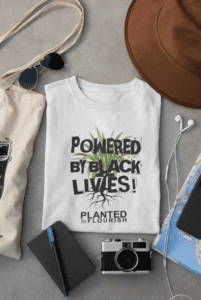 powered by black lives t-shirt