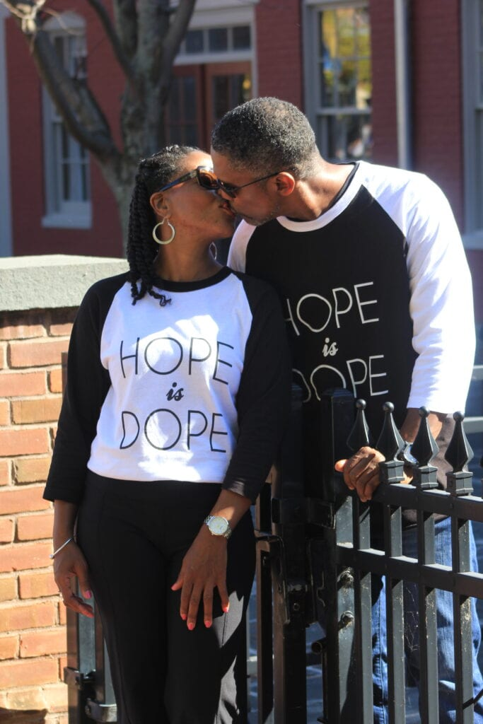 happy black couple kissing - dating over 40