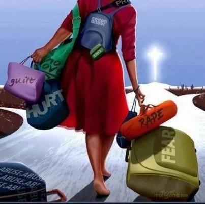 black woman carrying emotional baggage
